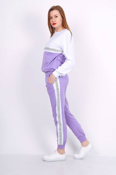 Luna Colour Block Print Lilac Purple Tracksuit - Suburbia Clothing