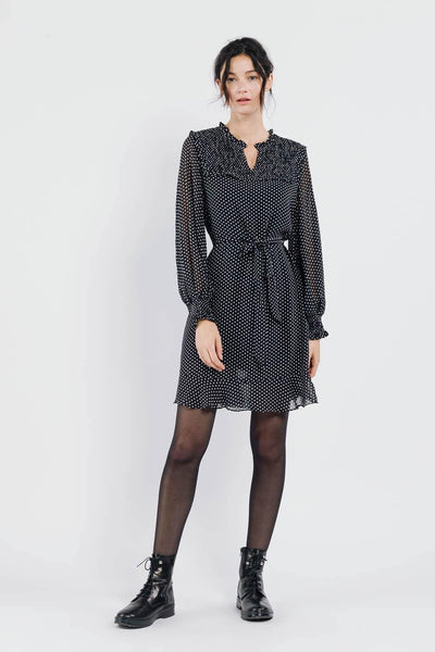 Ailani Ballon Sleeve Belted Shift Polka Dot Day Dress In Black - Suburbia Clothing