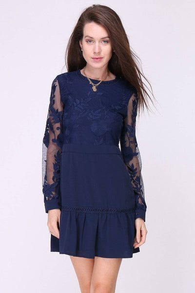 Samira Peplum Hem Lace Mini Dress in Navy - Suburbia Clothing
