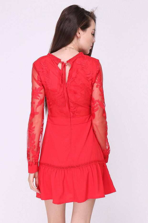 Samira Peplum Hem Lace Mini Red Dress | Suburbia Clothing
