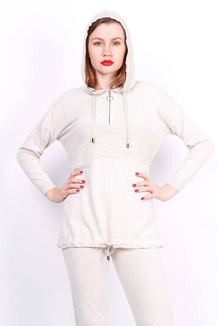 Slouchy Knitted Beige Hooded Tracksuit - Suburbia Clothing