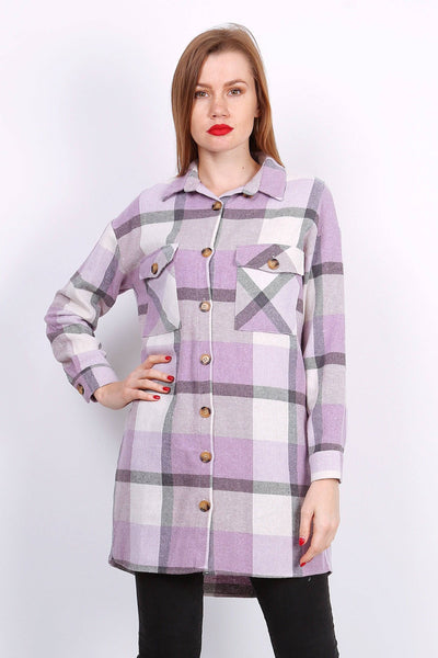 Bertha Longline Check Shirt In Lilac - Suburbia Clothing