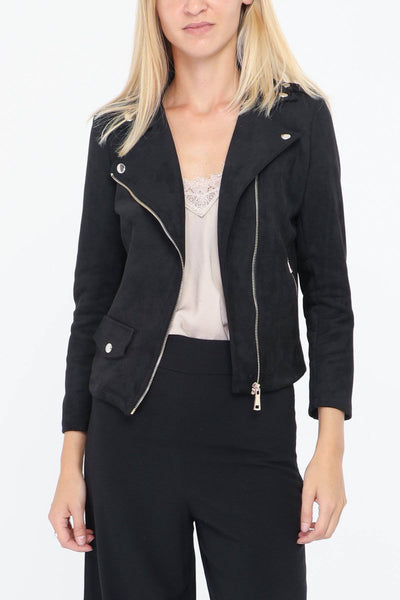 Evie Faux Suede Biker Jacket In Black - Suburbia Clothing