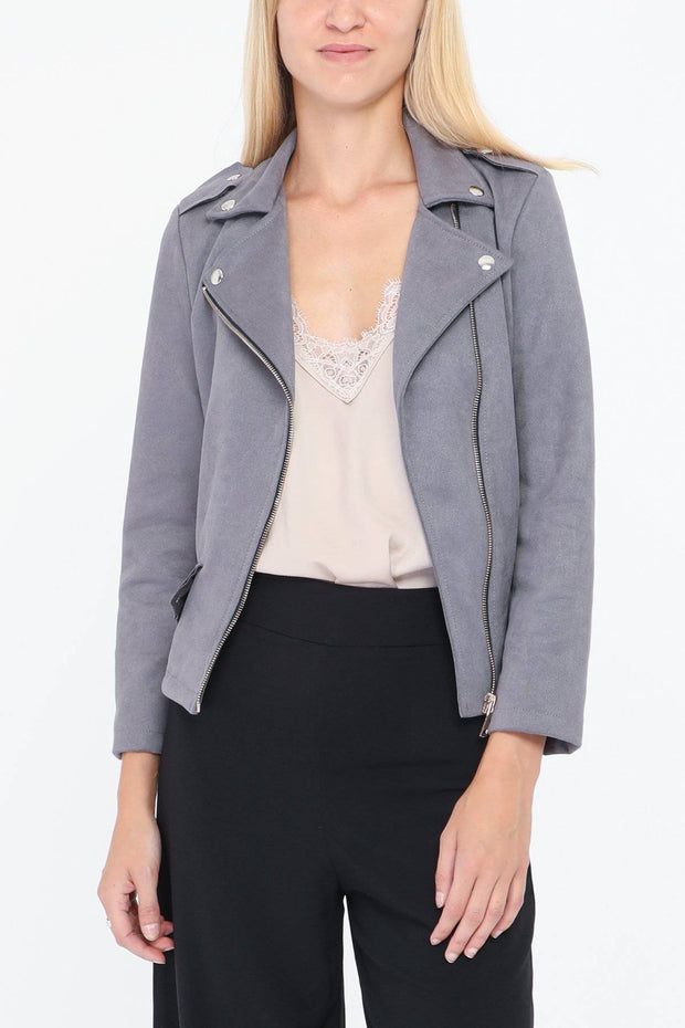 Evie Faux Suede Biker Grey Jacket - Suburbia Clothing