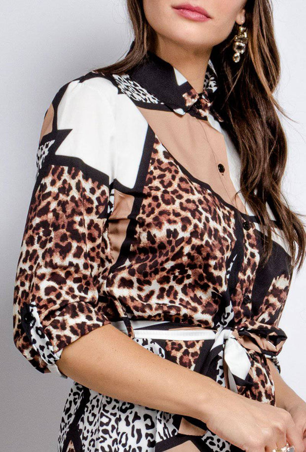 Riley Leopard Print Mini Shirt Dress In Black - Suburbia Clothing
