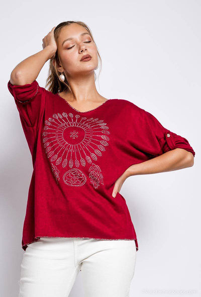 Lara Studded Dreamcatcher Loose Knit Top In Burgundy