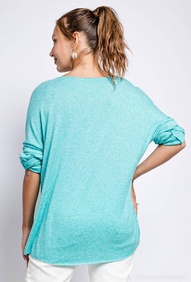 Sadie Knit Loose Feather Print Blue Top | Suburbia Clothing