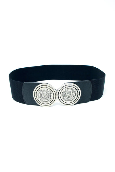 Emberly Silver Buckle Elastic Waist Belt In Black - Suburbia Clothing
