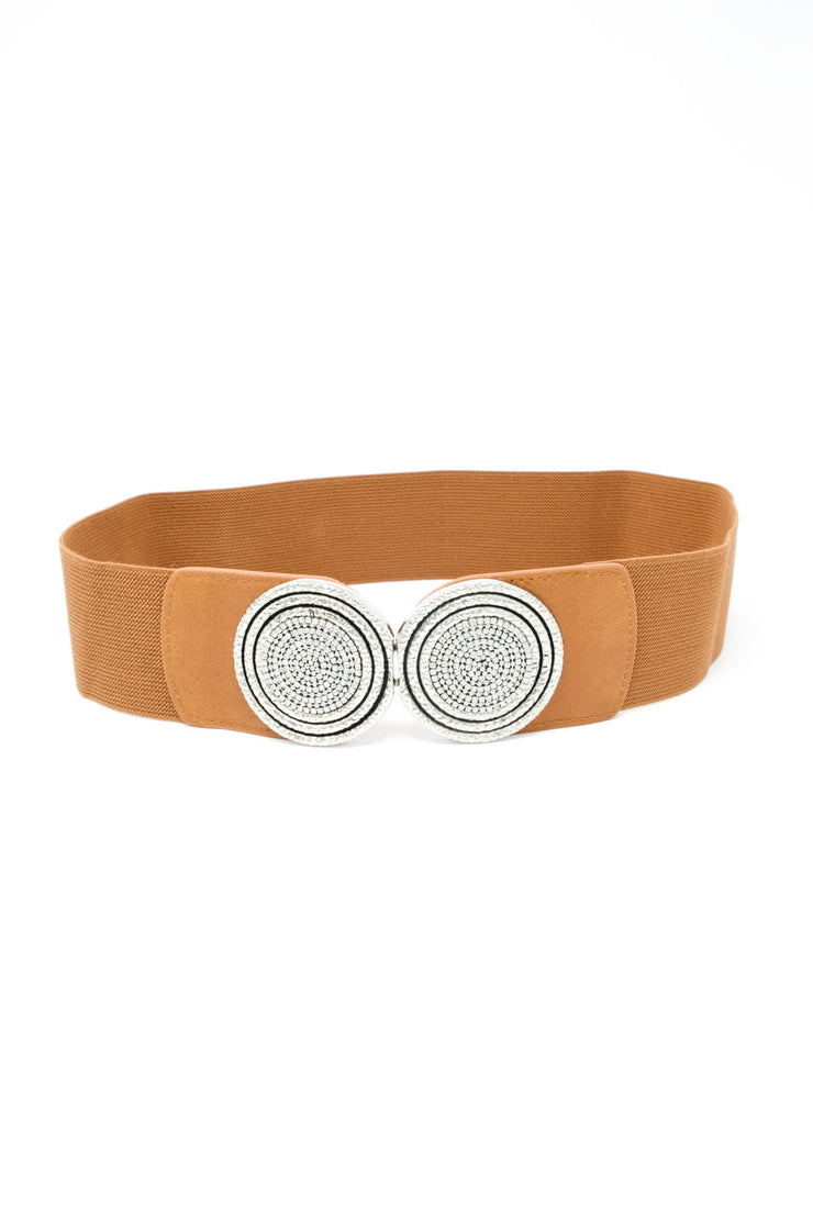 Silver Buckle Elastic Waist Belt In Camel - Suburbia Clothing