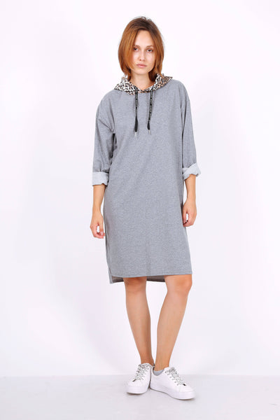 Leopard Sweatshirt Hoodie Dress In Grey | Suburbia Clothing