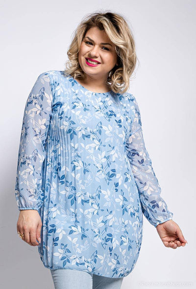 Trish Pleated Floral Print Blue Long Top | Suburbia Clothing