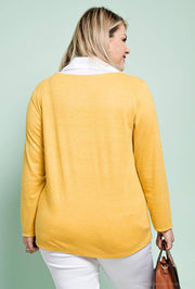 Pia White Collar Stretch Jersey Top In Mustard