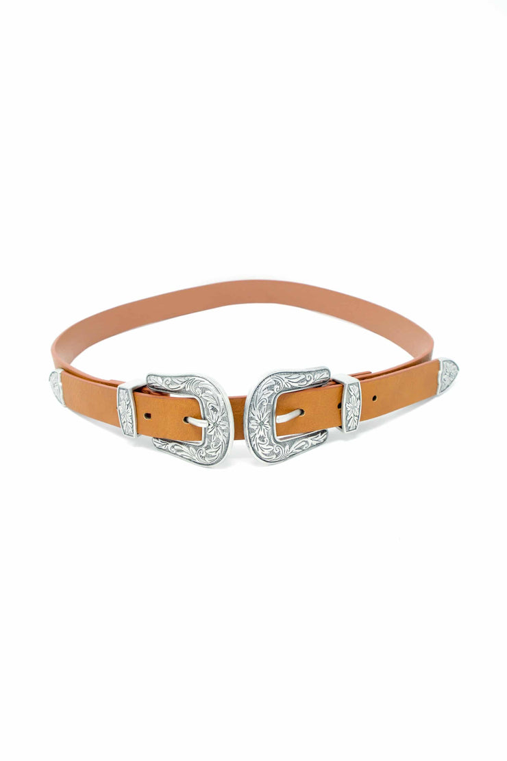 Maddison Double Buckle Western Brown Leather Belt- Suburbia Clothing