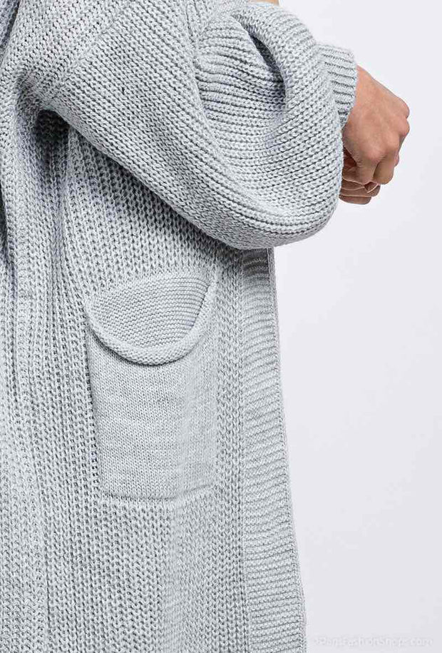 Bertie Ballon Sleeve Knit Long Cardigan In Grey | Suburbia Clothing
