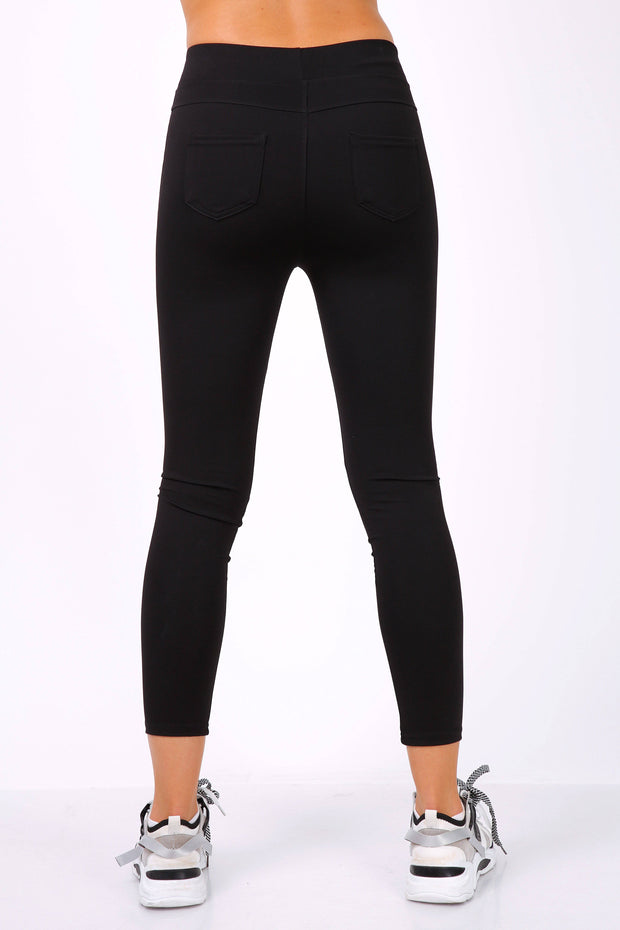 Violet Pull On Black Leggings With Pockets | Suburbia Clothing