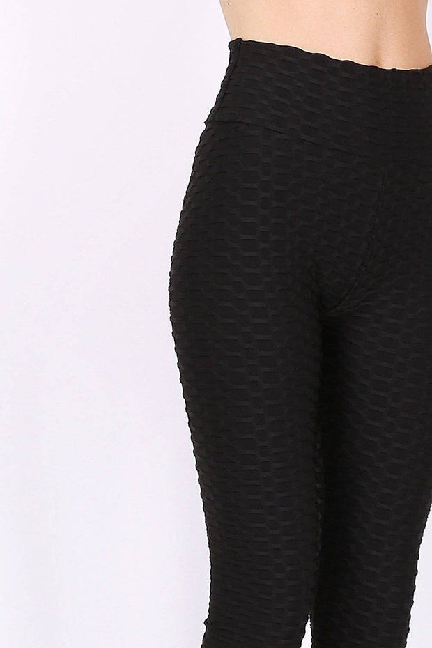 Reign Textured Ruched Bum Black Leggings - Suburbia Clothing