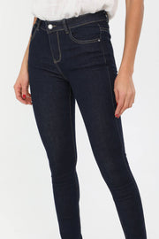 Briana Mid Rise Super Skinny Jeans In Dark Blue - Suburbia Clothing