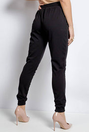 Carmen Cuffed Hem Jogger Pants In Black - Suburbia Clothing