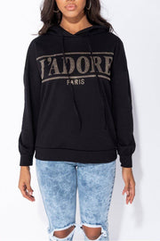 Chloe Studded J'Adore Black Hoodie In Black - Suburbia Clothing