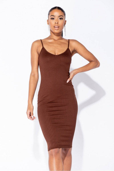 Luna Rib Knit Brown Bodycon Midi Dress | Suburbia Clothing
