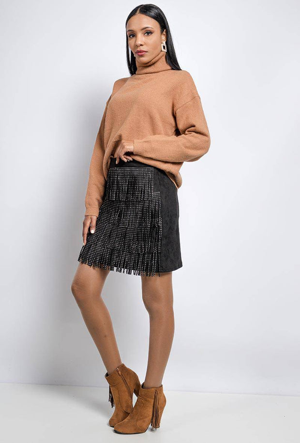 Naomi Studded Fringe Front Faux Suede Black Leather Mini Skirt - Suburbia Clothing
