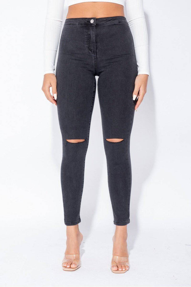 Zoe Knee Slash High Waist Grey Jeans - Suburbia Clothing