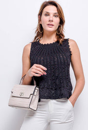 Aria Sleeveless Lace Top In Black - Suburbia Clothing