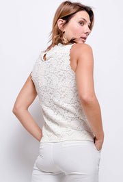 Aria Sleeveless Lace Top In Ecru - Suburbia Clothing