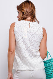 Aria Sleeveless Lace Top In White - Suburbia Clothing