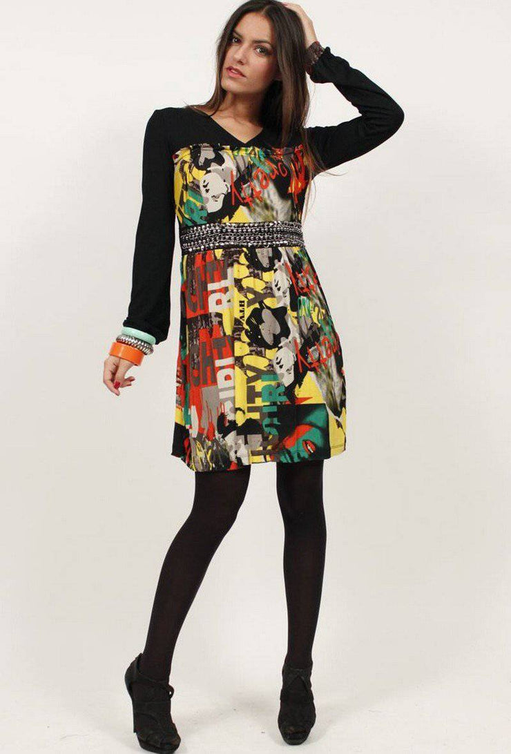 Coraline Contrast Print Embedded Mini Dress In Yellow - Suburbia Clothing