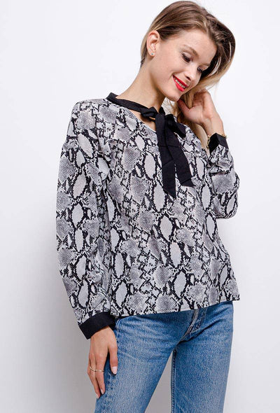 Hadley Snake Print Tie Neck Grey Blouse - Suburbia Clothing