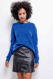 Gianna Contrast Side Panel Faux Leather Black Mini Skirt - Suburbia Clothing