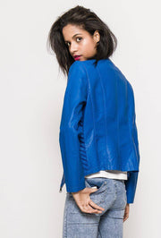Skylar Mesh Insert Faux Leather Jacket In Royal Blue - Suburbia Clothing
