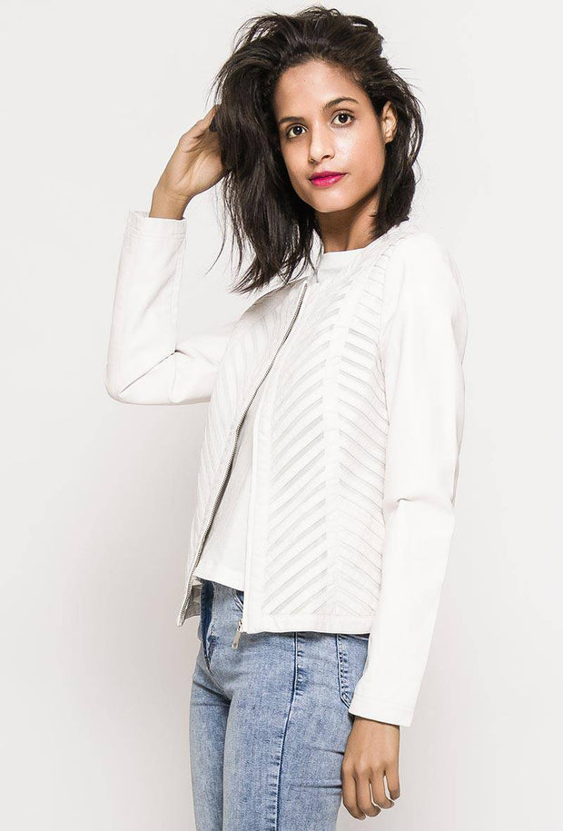 Skylar Mesh Insert Faux Leather Jacket In White - Suburbia Clothing