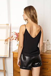 Gill Faux Leather Black Shorts - Suburbia Clothing