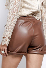 Gill Faux Leather Brown Shorts - Suburbia Clothing