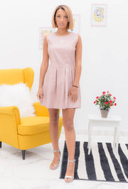 Scarlett Scarlett Faux Leather Skater Pink Mini Dress | Suburbia Clothing