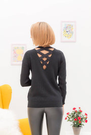 Emma Lace Up Back Sweater In Black - Suburbia Clothing