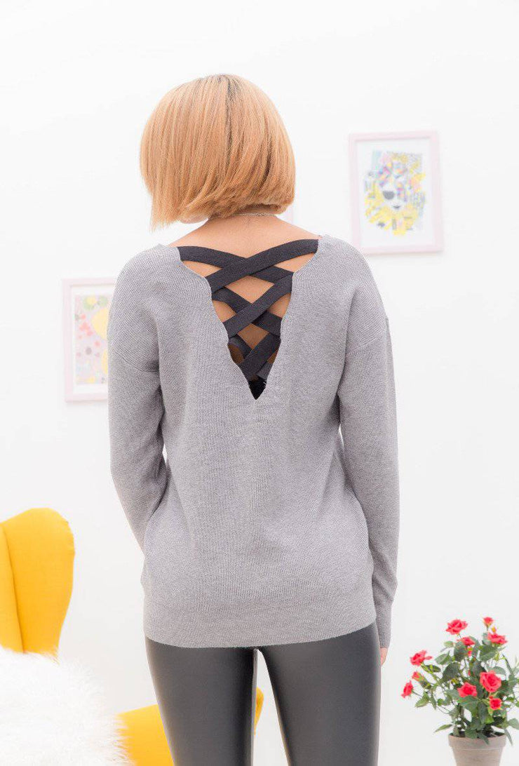 Emma Lace Up Back Sweater In Grey - Suburbia Clothing
