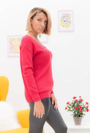 Emma Lace Up Back Red Sweater - Suburbia Clothing
