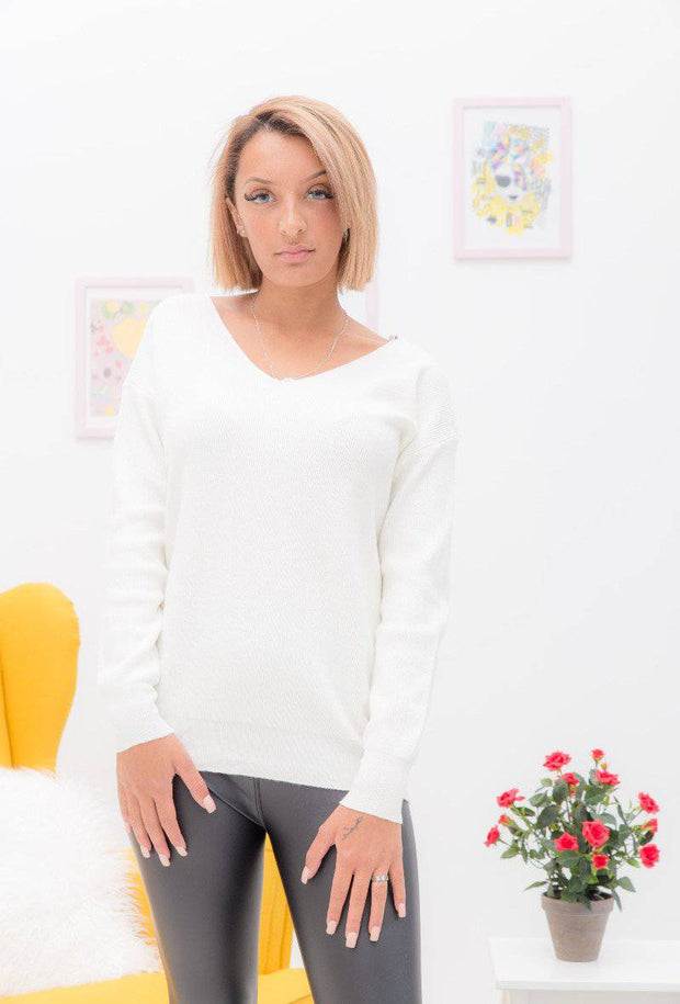 Emma Lace Up Back White Sweater - Suburbia Clothing