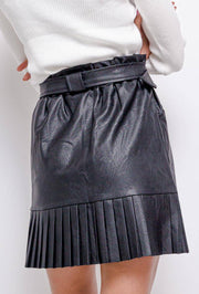 Kaia Pleat Hem Belted Leather High Waist Black Skirt - Suburbia Clothing
