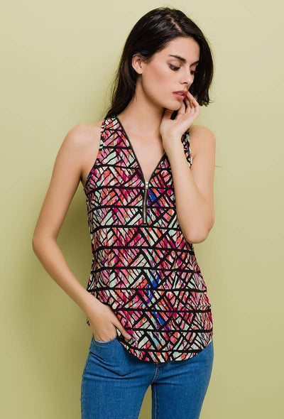 Kali Mosaic Print Zip Front Sleeveless Red Top - Suburbia Clothing