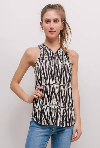Maeve Aztec Print Zip Front Sleeveless Top - Suburbia Clothing