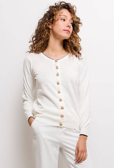 Margot Contrast Trim Button Up White Cardigan - Suburbia Clothing