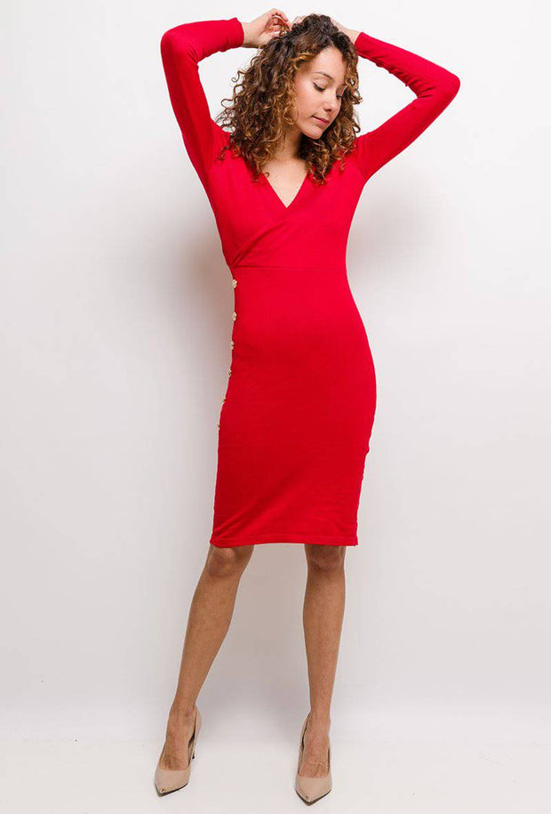 Vivienne Button Detail Knitted Red Bodycon Midi Dress - Suburbia Clothing