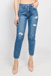 Marivy Distressed High Waist Mom Jeans In Medium Blue - Suburbia Clothing
