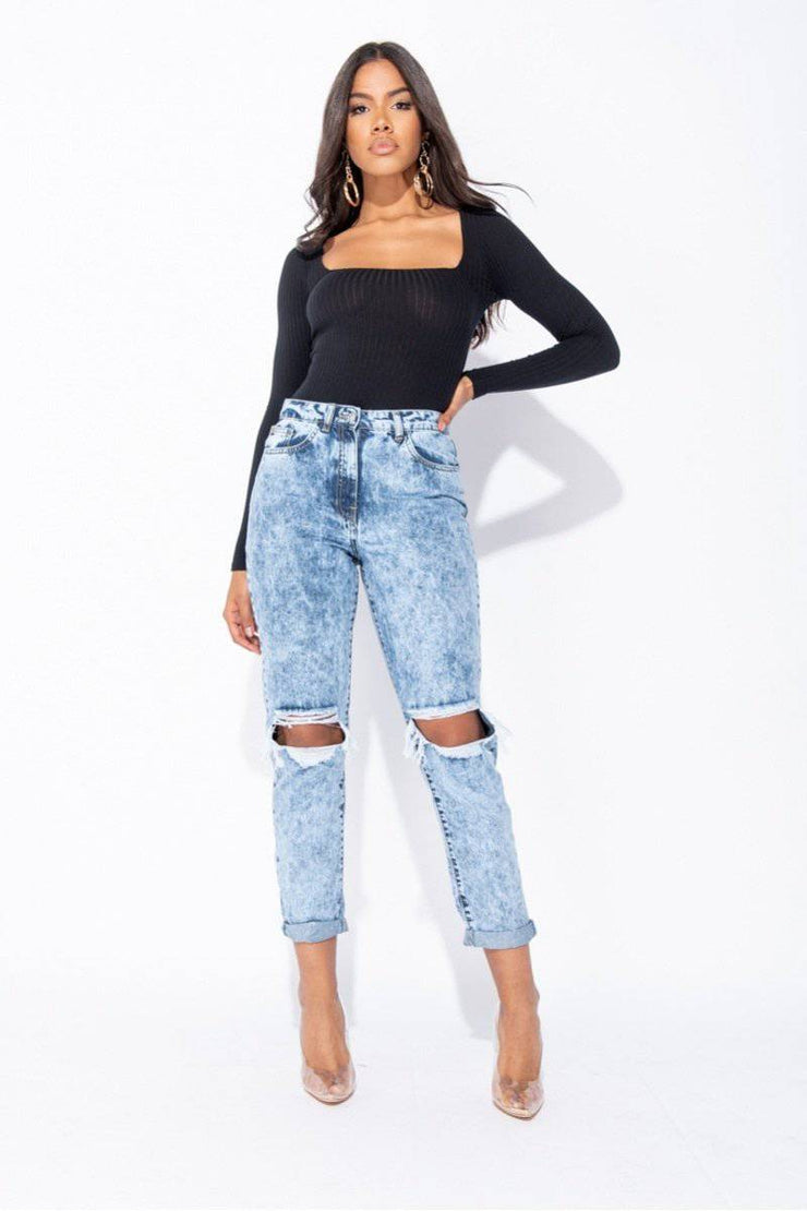 Piper Distressed Turn Up Hem Boyfriend Jeans In Mid Blue Acid - Suburbia Clothing