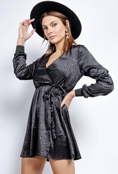 Ella Leopard Long Sleeve Satin Wrap Dress In Black - Suburbia Clothing