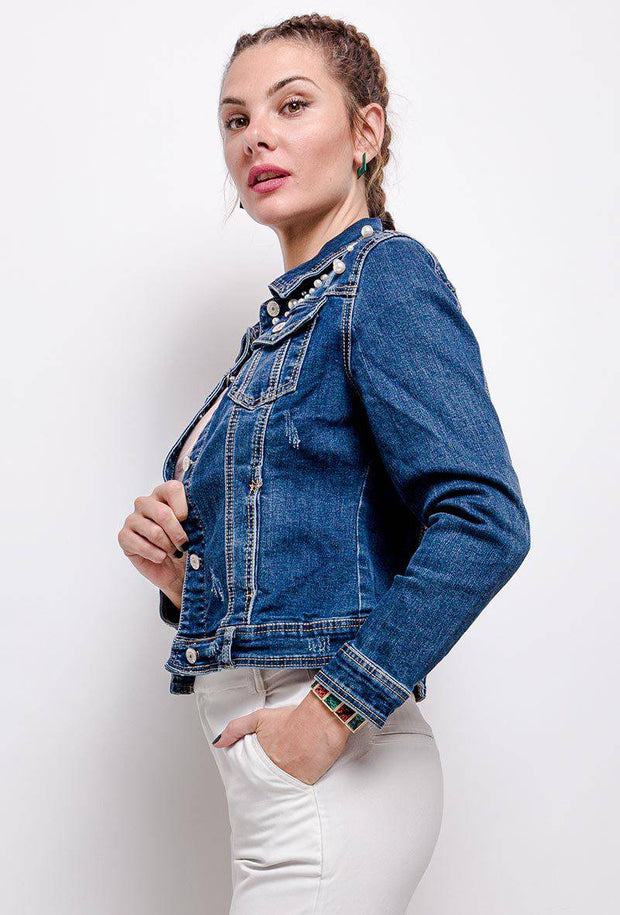 Clara Pearl Embellished Denim Jacket In Medium Blue - Suburbia Clothing